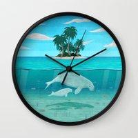 manatee Wall Clocks featuring Manatee Island by Lidra