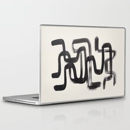Mid Century Modern Minimalist Abstract Art Brush Strokes Black & White Ink Art Pipe Maze Laptop & iPad Skin