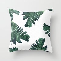 Throw Pillows featuring Banana Leaf Watercolor Pattern #society6 by 83 Oranges™