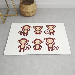 Set of funny brown monkey boys and girls on white background. Vector illustration Rug