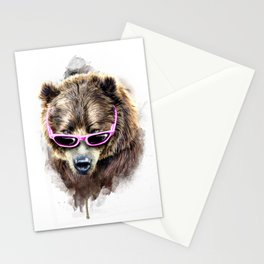 Cool shy bear Stationery Cards