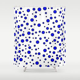 Blue Polka Dot Pattern Shower Curtain