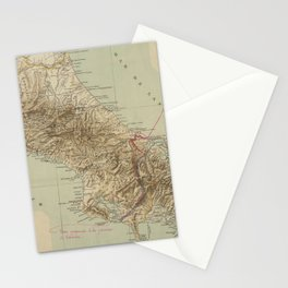 Vintage Map of Costa Rica (1896) Stationery Cards