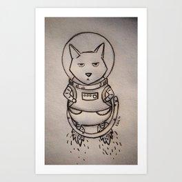 Grumpy Space Cat Art Print