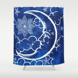 Moon vintage blue Shower Curtain