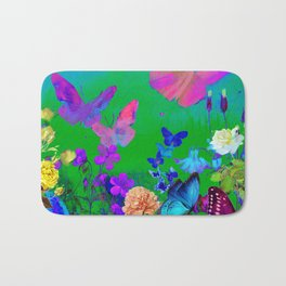 Green Butterflies & Flowers Bath Mat