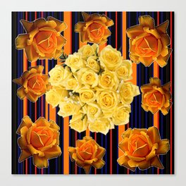 GOLDEN & YELLOW ROSES DARK STRIPES ART Canvas Print