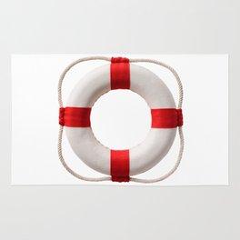 White-red lifebuoy, isolated on white background Rug