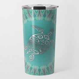 Turquoise Silver Turtle And Mandala Travel Mug