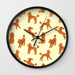 Red Poodles Pattern (Light Yellow Background) Wall Clock