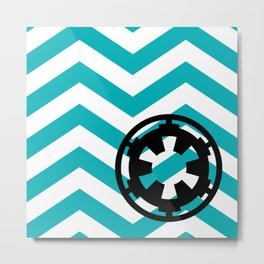 Imperial Cog on Blue Chevrons Metal Print