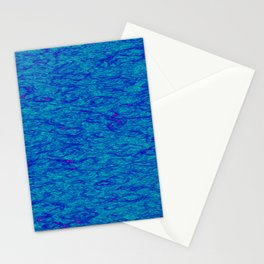 Horizontal metal texture of Iridescent highlights on blue waves. Stationery Cards