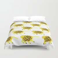 panther Duvet Covers featuring Hopping Panther by Aniek Bartels