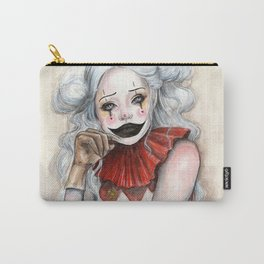 """""""Giggles"""" Mixed media Clown Painting Carry-All Pouch"""