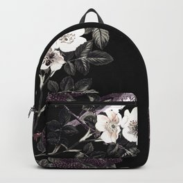 Blackberry Spring Garden Night - Birds and Bees on Black Backpack