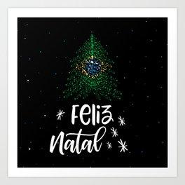 Merry Christmas and Brazilian flag Art Print