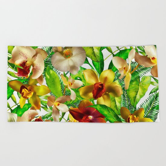 My tropical Orchid Garden- Jungle Pattern on #Society6 Beach Towel
