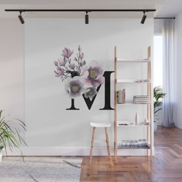Letter 'M' Magnolia Flower Typography Wall Mural