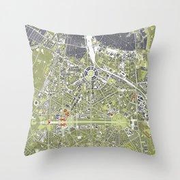 New Delhi map engraving Throw Pillow