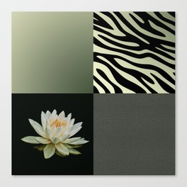 Water Lily and Zebra Green Patch Work Canvas Print