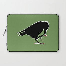 Crow with red pixel nails  Laptop Sleeve
