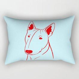 Bull Terrier (Light Blue and Red) Rectangular Pillow