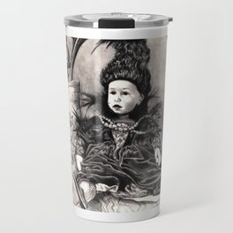 Madamme Darkness, Queen of the Night, Creepy Doll pencil portrait Travel Mug