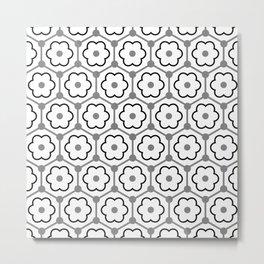 Floral Graphene - White - Gray - Black Metal Print