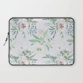 Blush pink white green watercolor modern floral berries pattern Laptop Sleeve