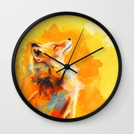 Blissful Light - Fox portrait Wall Clock
