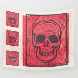 Four Red Skulls Offset Wall Tapestry
