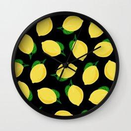 lemons in black Wall Clock