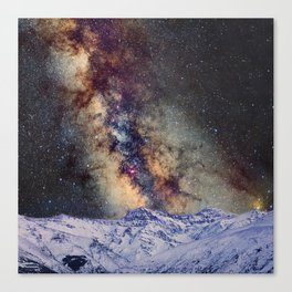 The star Antares, Scorpius and Sagitariuss over the hight mountains. The milky way. Canvas Print