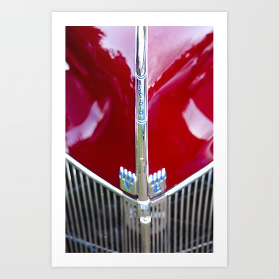 Classic Ford - Vintage Logo - Red Art Print