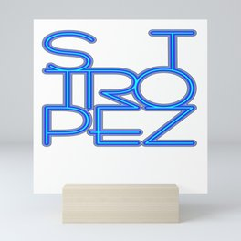 St. Tropez in blue neon Mini Art Print