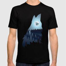 Blue moon and howling wolf head Mens Fitted Tee Black X-LARGE
