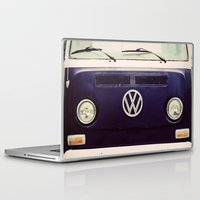 volkswagon Laptop & iPad Skins featuring Blue VW Bus by Anna Dykema Photography