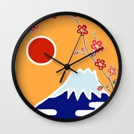 Mount Fuji and Sun Rise Wall Clock