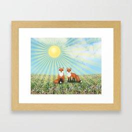 2 foxes Framed Art Print