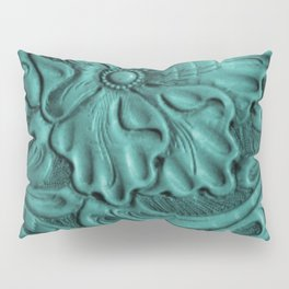 Teal Flower Tooled Leather Pillow Sham