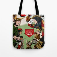 captain hook Tote Bags featuring Hook Comic by mikaelak