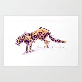 Cheetah Ink Wash Color Art Print