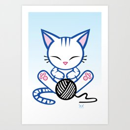 Sleepy Sunday Kitten Art Print