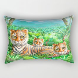 Tiger and Cubs Rectangular Pillow