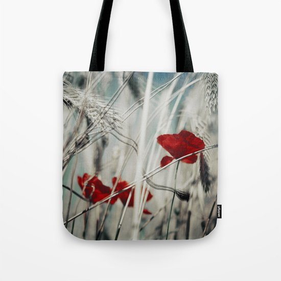 red spots - poppy blossoms in a field Tote Bag