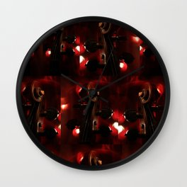 Fiery Red Violin Scroll Wall Clock