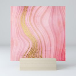 Walk with the waves - Pink and Gold Mermaid Marble Mini Art Print