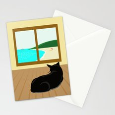 Landscape and cat Stationery Cards