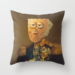 General Spongebob Portrait   Fan Art Painting Throw Pillow