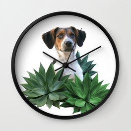 Agave Leaves Jack Russell Terrier Dog Wall Clock